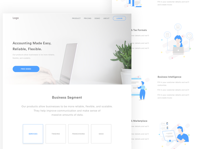 SAAS Website Design Concept landing page illustration best minimal software ui accounting uiux ui saas