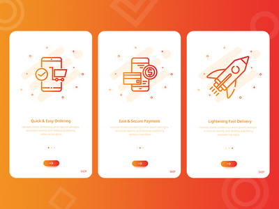Walkthroughs UI App presentation shapes delivery fast secure order payment red on boardings app e commerce walkthrough gradient