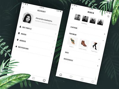 Fashion UI App e commerce green clean minimal app fasion notification black  white category ux profile card ui profile