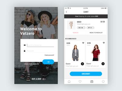 Cart & Log in UI App
