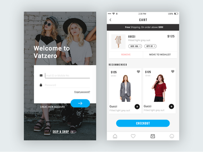 Cart & Log in UI App offer cards checkout ecommerce fasion minimal app sign in login ux ui cart