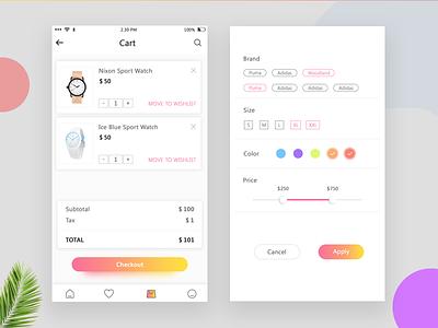 Checkout UI App gradient best design e commerce ux minimal typography fashion app screen icon filter presentation app checkout ui cart