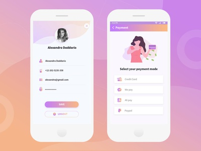 Profile and Payment Screen UI design best minimal typography icon gradient checkout ui app ecommerce illustration payment clean profile card
