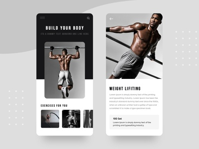 Gym App UI presentations tag card search logo cart clean ui typogaphy black app design e commerce illustration minimal ui gym app