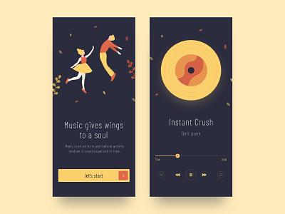 Music App UI colors music black dark ui clean design app landing page illustration ux ui