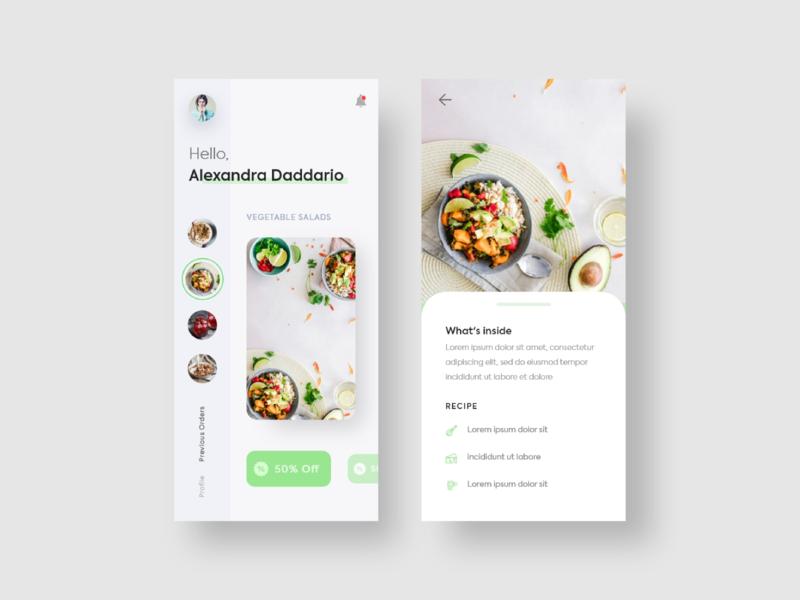 Salad App layout health salad food side menu checkout clean cart design app e commerce landing page illustration ux minimal ui