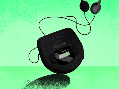 Sony Discman photoshop vector illustrator illustration portable cd player retro discman sony