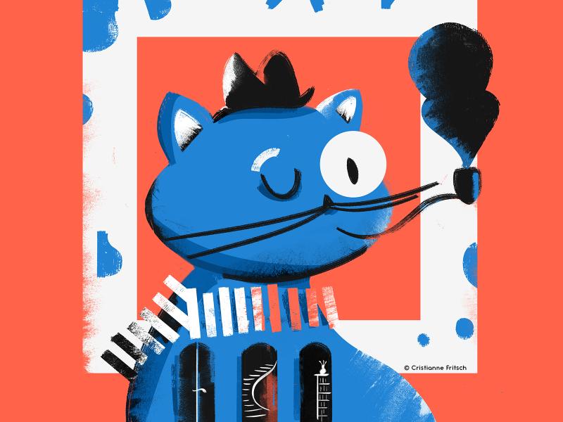 Blue Cat blue cat cat illustration cristiannefritsch character mixed media design digital painting digital illustration digital art illustration