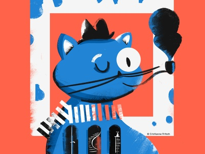 Blue Cat blue cat cat illustration cristiannefritsch character mixed media design digital painting digital illustration digital art illustration
