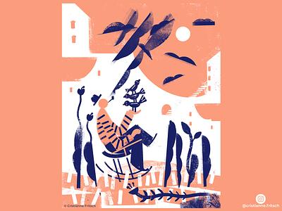 Bird translator cristiannefritsch characters editorial illustration design mixed media digital painting digital illustration digital art cristianne fritsch illustration