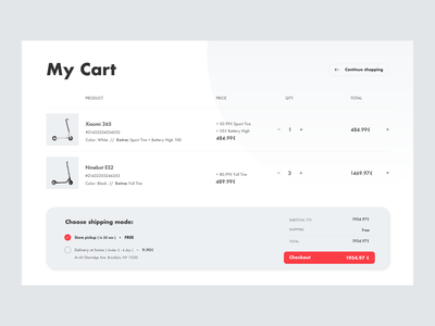 E-commerce scooter customizing concept - Cart Page #1 payment shipping shop shopping scooters ecommerce design ecommerce design customization custom concept cart app