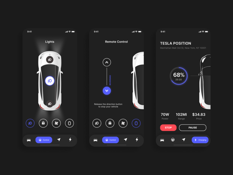 Tesla mobile app concept dark mode dark app dark ui vector user inteface user ux ui uiux tesla mobile ui mobile application mobile app design mobile app interface design dashboad application design application app