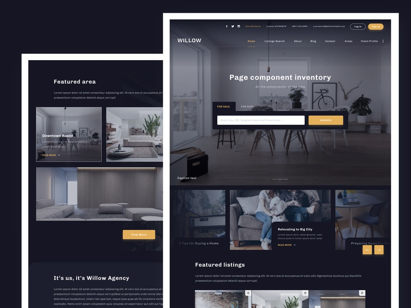 Real estate website area listings search testimonial themes design website web ui ux dark theme