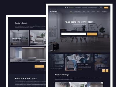 Real estate website area listings search testimonial themes design website web ui ux dark theme