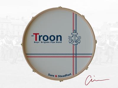 1st Troon Boys' Brigade Pipe Band Bass Drum Head