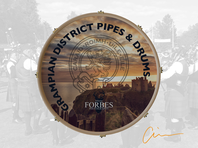 Grampian District Pipe Band Bass Drum Head scottish drum head bass band pipe district grampian