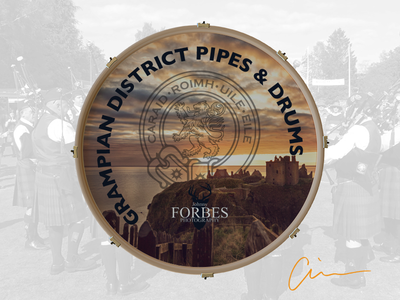 Grampian District Pipe Band Bass Drum Head