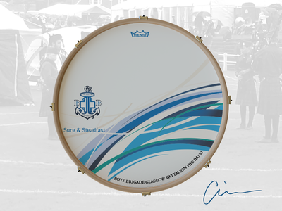 Glasgow Battalion Boys' Brigade Pipe Band Bass Drum Head