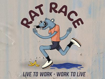 Rat Race banana rat hand drawn procreate character design type branding editorial illustration illustration