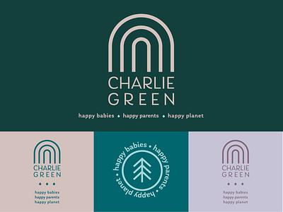 Charlie Green Organic Baby Products baby feminine natural organic brand identity identity logo branding packaging design