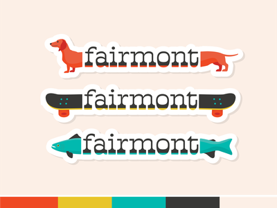 Fairmont Stickers retro 1970s dog skateboard fish sticker branding and identity placemaking illustration branding