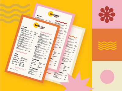 Lazy Day Cafe Menu print design menu restaurant style guide illustration brand design warm 1970s