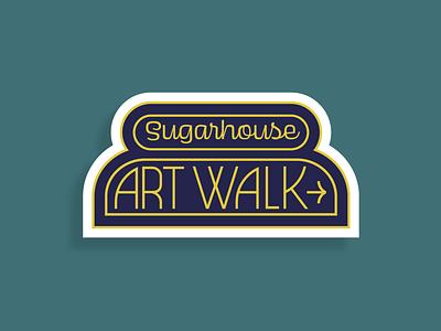 Sugarhouse Art Walk Stickers retro font type salt lake city sugarhouse utah sticker lettering illustrator typography midcentury