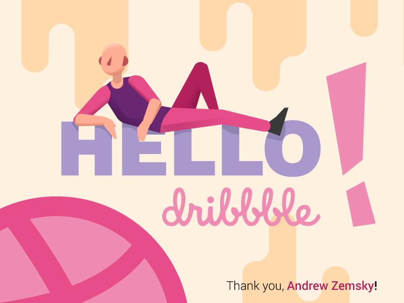 Hello dribbble debut vector illustration hello dirbbble man