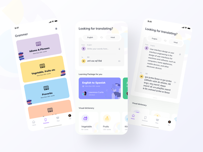Language Learning app uiuxdesign language learning translations components clean ui typography icon set online learning language school learning english study app education app course app language uidesign ios app design app design dictionary learning app language app