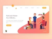 Online Library Header concept