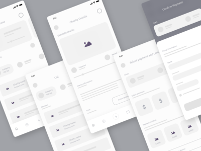 Wireframe Screen | Charity  app trendy design ios app design uiux user interface user experience ux donation app charity app ios app design wireframe design wireframe kit