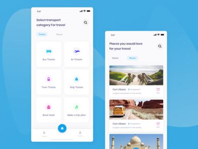 Ticket app | Find travel places.. updated android app design animation design uiux app design iphone x ios app design hotel booking app ship ticket app air ticket app bus ticket travel app ticket app