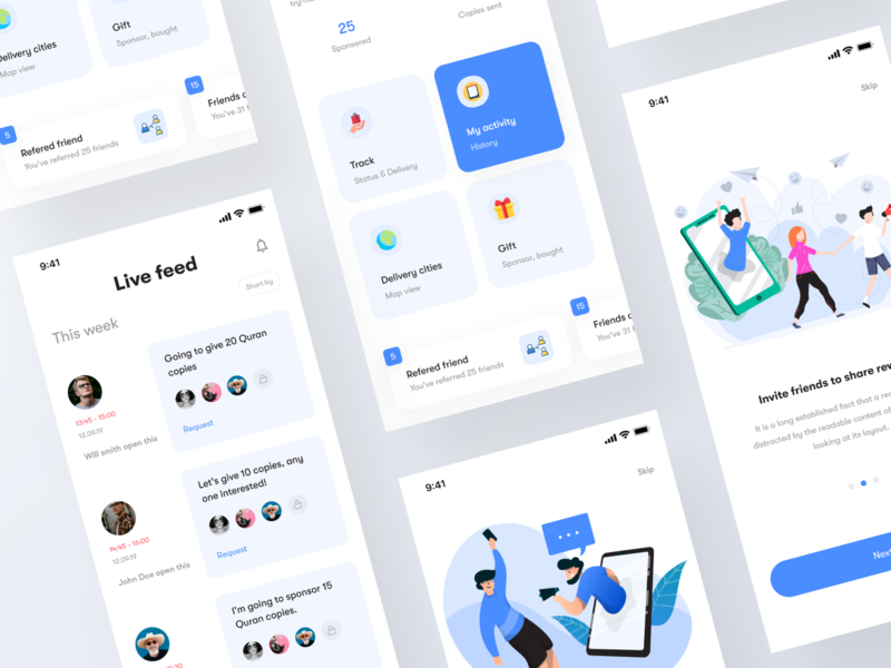 Social app ui - IOS app iphone x iconography color palette social network media kit user interface design typography icon design clean ui trend 2019 uxdesign uidesign profile screen onboarding screen card design illustration art ios app design android app design delivery app social app