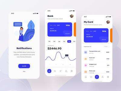 Financial App - IOS navigation bar trend 2019 transactions expense tracker banking marketplace android app design ios app clean layoutdesign card colors finance credit card businesscard bank card bank app bank app design app