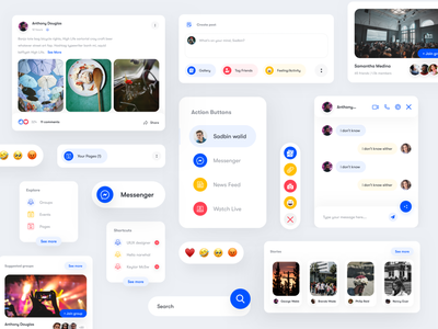 UI components of Facebook trend 2020 colours graphicdesign facebook app facebook banner facebook post search bar button design theme design icon set layoutdesign card design ui card minimal ui user interface design uidesign ui  ux dashboard ui ui components components