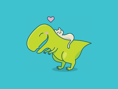 Dino & Cat Love | Weekly Warm-Up valentines day blushing t-rex heart love vector illustration animal cute cuddle cat dinosaur dino