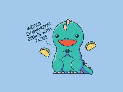 Taco Dino Illustration dinosaurs dino tacos taco colorful vector digital art illustration dinosaur