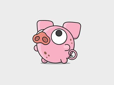 Bubble Pig mascot animal playful cute illustration geometric bubble pink logo pig