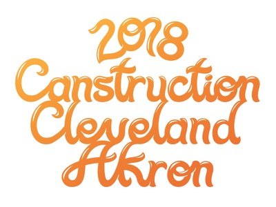 Canstruction Cleveland 2018 akron type bubble fun curves taffy orange gradient logotype typography 2018 cleveland canstruction