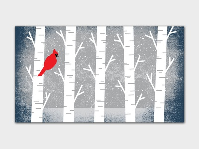2018 Holiday Card 2018 animal blue illustration grit texture snow birch tree birch cardinal christmas card holiday cards holiday card holiday christmas