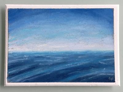 someone else's horizon traditional art soft pastels sky ocean waves pastels