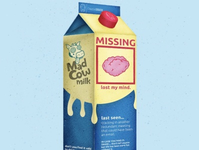 Lost My Mind Milk Carton Illustration typography flat logo branding vector illustration vectorart vector illustration icon design