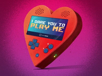 """Play With My Heart"" Handheld Game logo typography gradient funny illustration texture comic vector illustration vectorart vector illustration icon design"