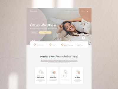 Wellness studio web design typography ux uidesign ui design digital web warm minimal health studio yoga education wellness