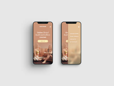 Circle studio mobile menu ux uidesign wellness center soft navigation minimal ui menu web digital design wellbeing wellness
