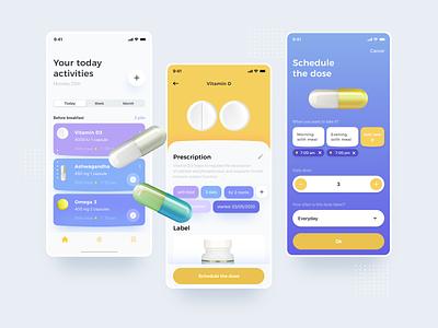 Medicine Reminder wellness minimalist uidesign minimal ui digital design mobile health app calendar reminder medicine health drug
