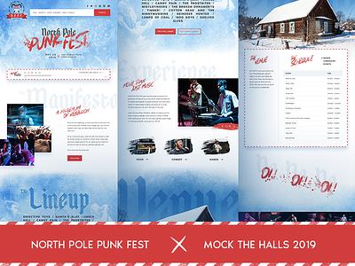 North Pole Punk Fest - Mock the Halls 2019 mock the halls christmas hardcore punk music festival ui design graphic design web design website