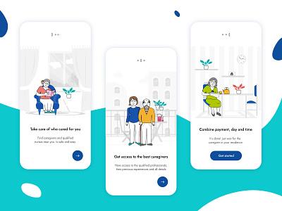 Find Caregiver family nurse care healthy elderly mobile design app ui design illustration