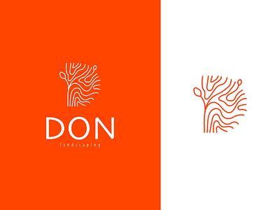 DON Landscaping nature logo tree furniture garden sustainability branding logo landscaping