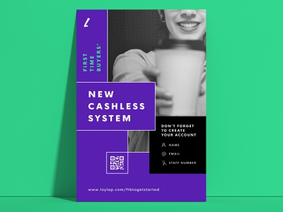 Cashless System marketing poster design payment method payment offers discount free coffee shop stamp qr code graphic design loyalty customer app cashless